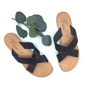 Joie A La Plage Black Leather Sandals Flat 38.5